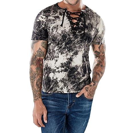 WWricotta Camisetas Hombre Manga Corta Originales Cuello en V Bandage Estampado de Tinta Camisa Gimnasio Deporte