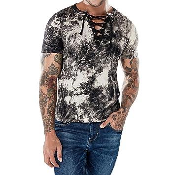WWricotta Camisetas Hombre Manga Corta Originales Cuello en V Bandage Estampado de Tinta Camisa Gimnasio Deporte Polos Casual Fitness Remera: Amazon.es: ...