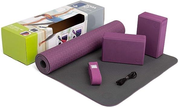 Esterilla de yoga Flow, de TPE, 2 ladrillos para yoga de goma EVA (espuma de caucho), 1 cinturón de yoga de algodón, para principiantes: Amazon.es: Salud y cuidado personal