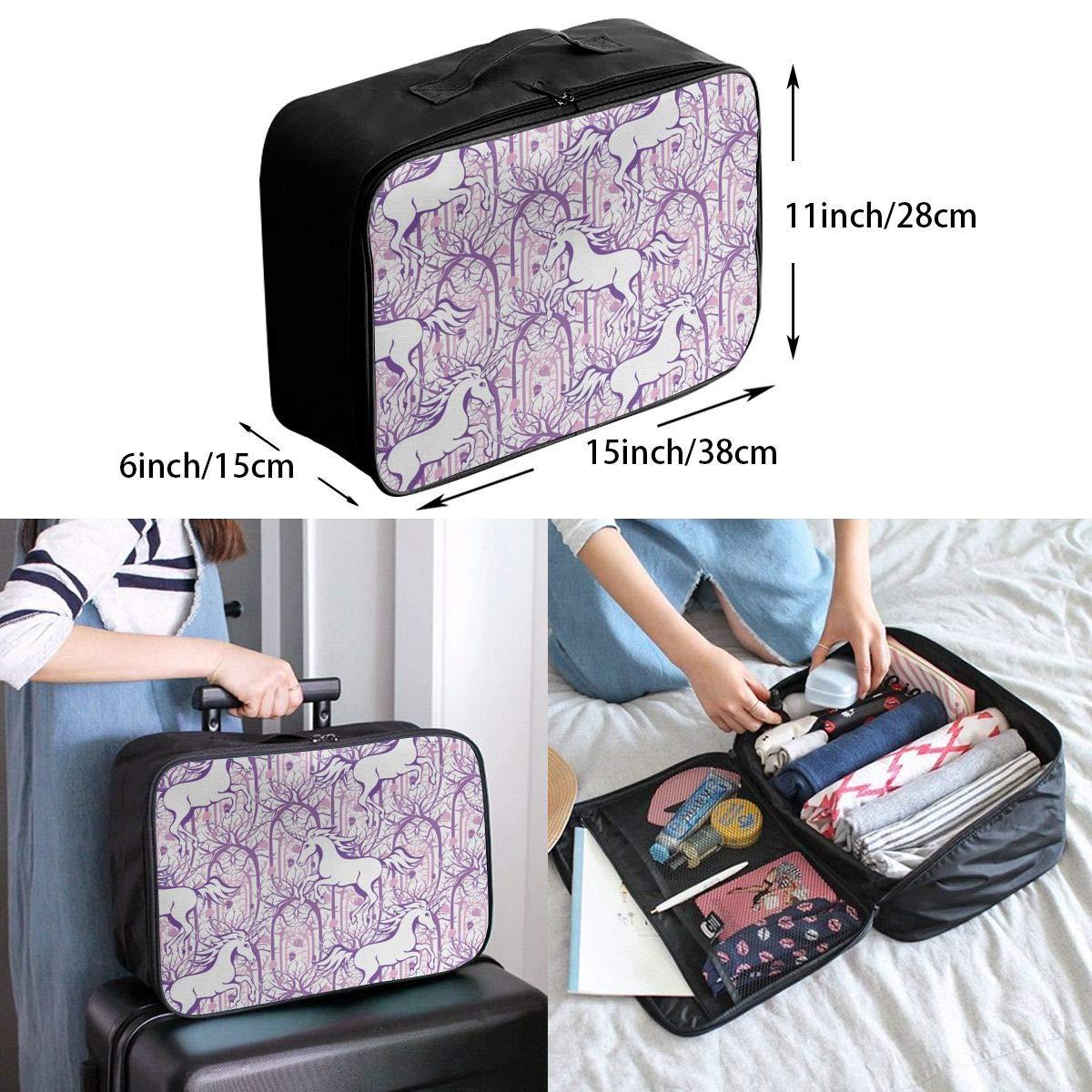 ADGAI Unicorn Galloping Canvas Travel Weekender Bag,Fashion Custom Lightweight Large Capacity Portable Luggage Bag,Suitcase Trolley Bag