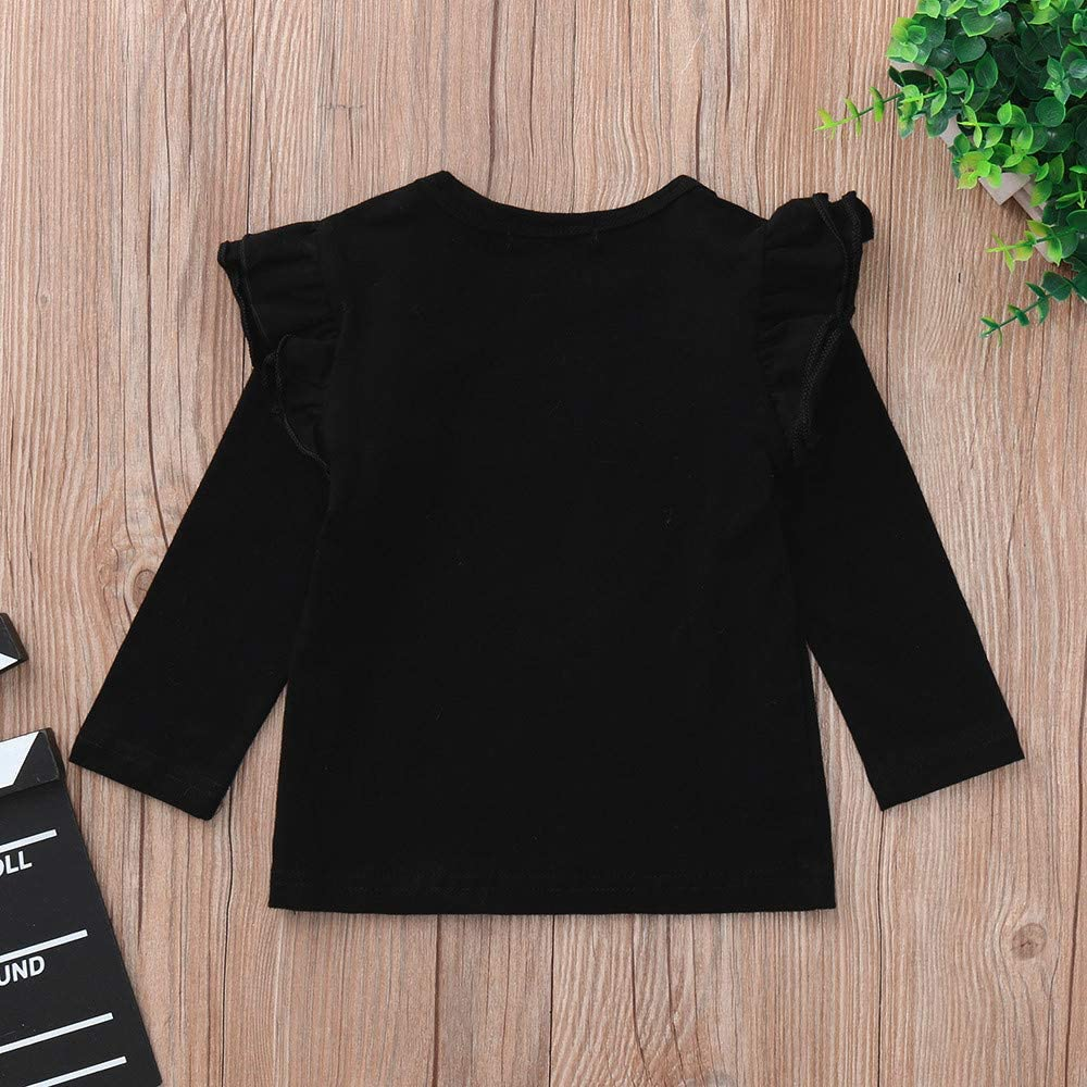 TIANRUN Cute Infant Baby Kids Girl Fall Winter Solid Candy Color Ruffle Long Sleeve T Shirts Tops Clothes