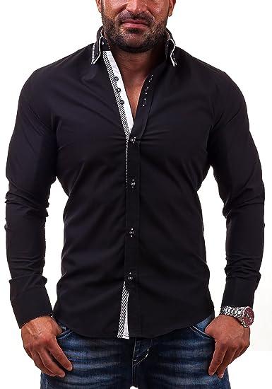 BOLF 3704 Schwarz L  2B2  Herrenhemd Hemd Casual Freizeit Slim Fit  Klassisch Business bc4f362fa6