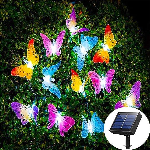 Julyfun 12 Luces LED de Cadena Solar Luces solares de jardín de Mariposa Luces de Cerca de iluminación Decorativas Impermeables para Navidad, jardín, Patio, Patio, hogar, Fiesta: Amazon.es: Hogar