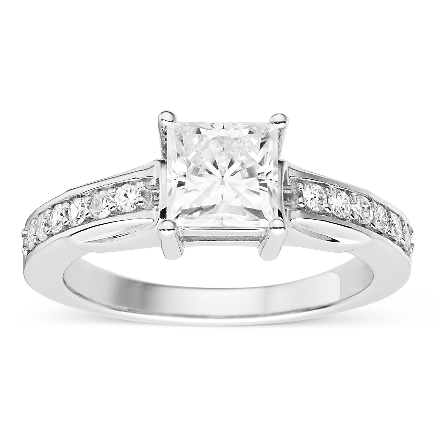 Forever Classic Square Cut 6.0mm Moissanite Engagement Ring-size 8, 1.48cttw DEW By Charles & Colvard