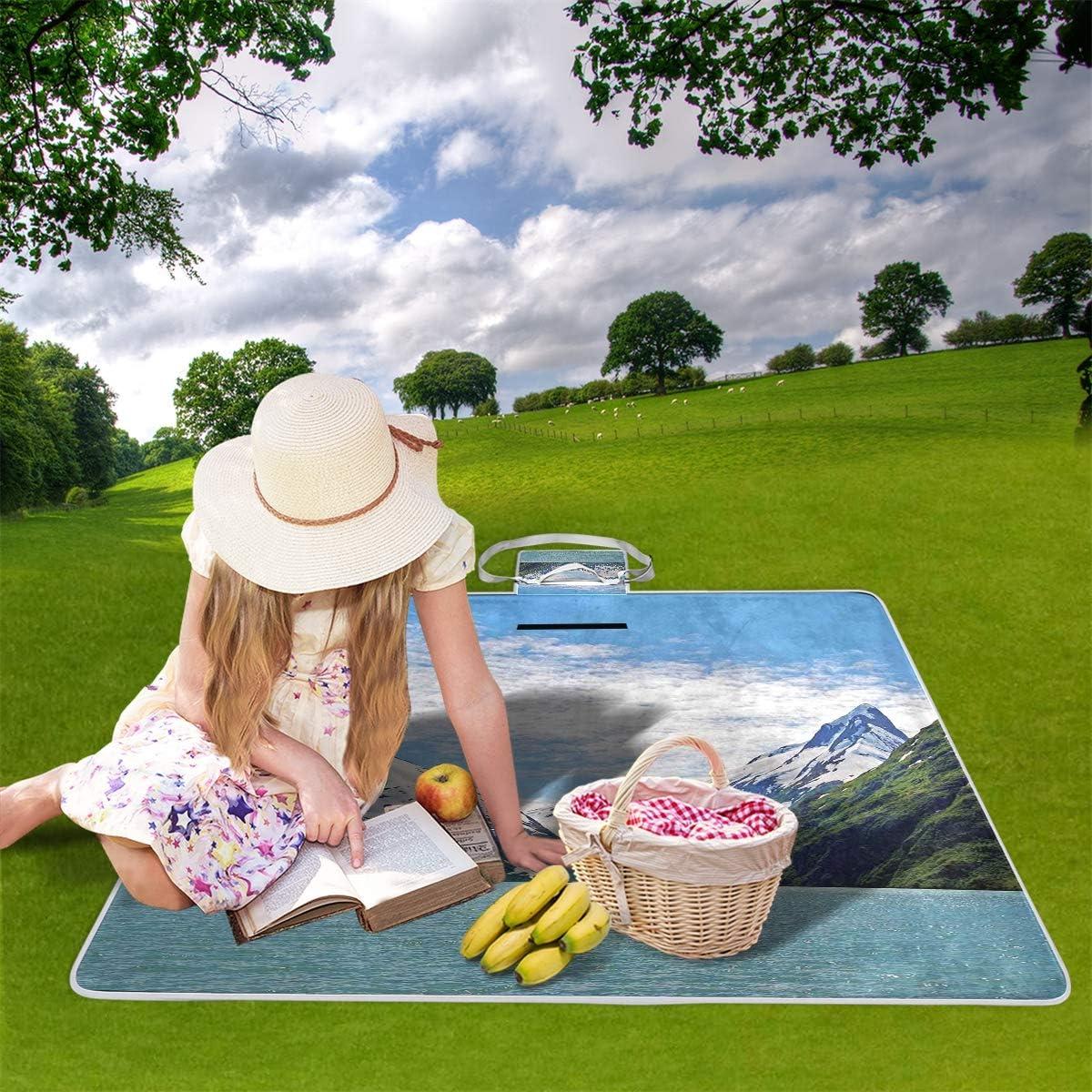XINGAKA Coperta da Picnic Tappetino Campeggio,Stampa Floreale nordica Chevron Geometrica,Giardino Spiaggia Impermeabile Anti Sabbia 19