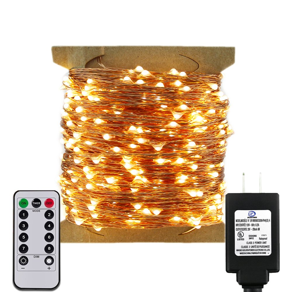ErChen Remote Control Adapter Powered Led String Lights, 165FT 500 LEDs Dimmable Copper Wire Decorative Fairy Lights with 8 Modes and Timer for Indoor, Outdoor, Christmas (Warm White)
