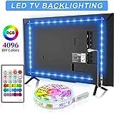 Bason TV LED Backlight, 13.09ft USB Led Lights Strip for 60-70 TV/Monitor Backlight, LED TV Lights with Remote, 4096 DIY Colo