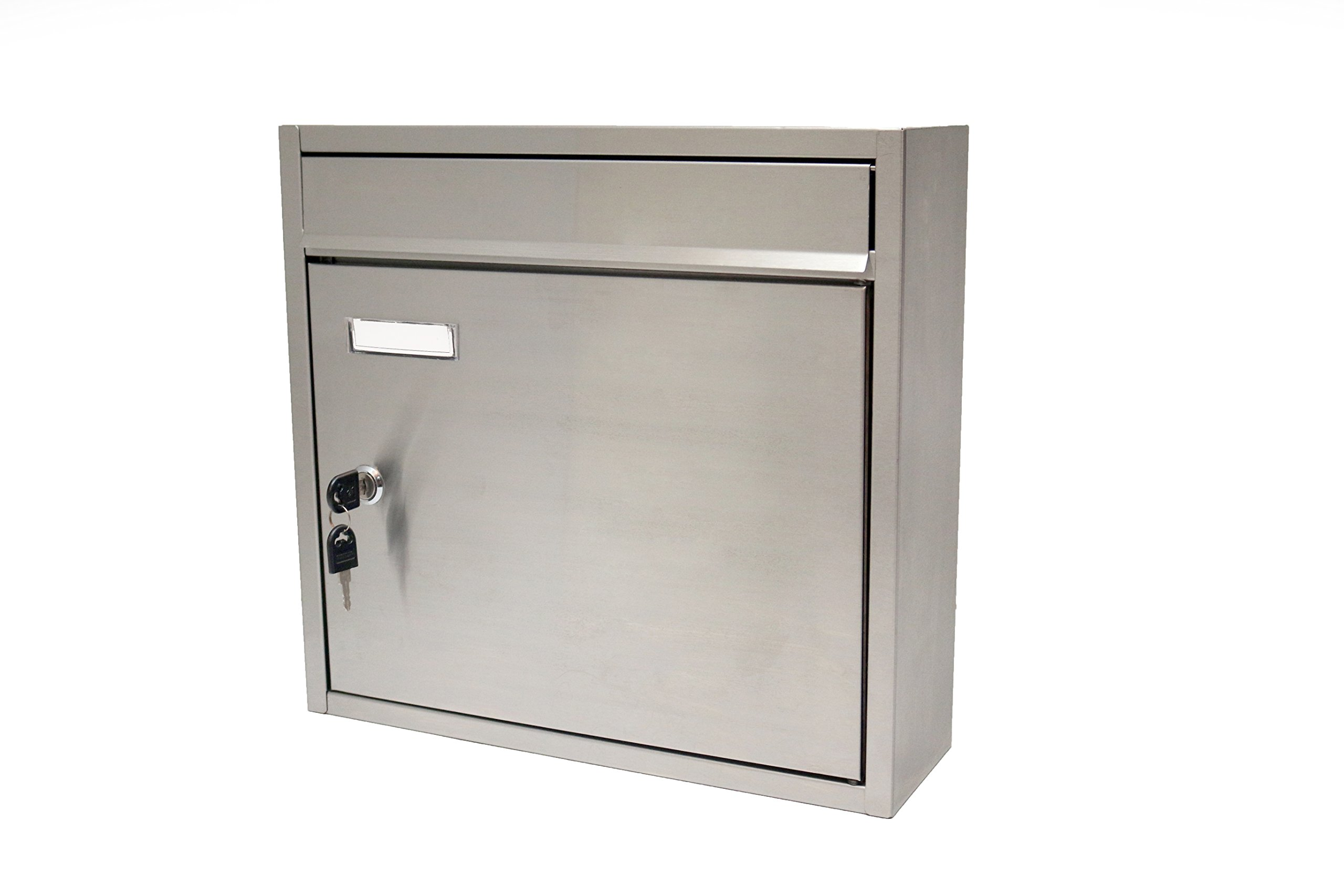 Stetson Hardware, stainless steel lockable wall mount mailbox.
