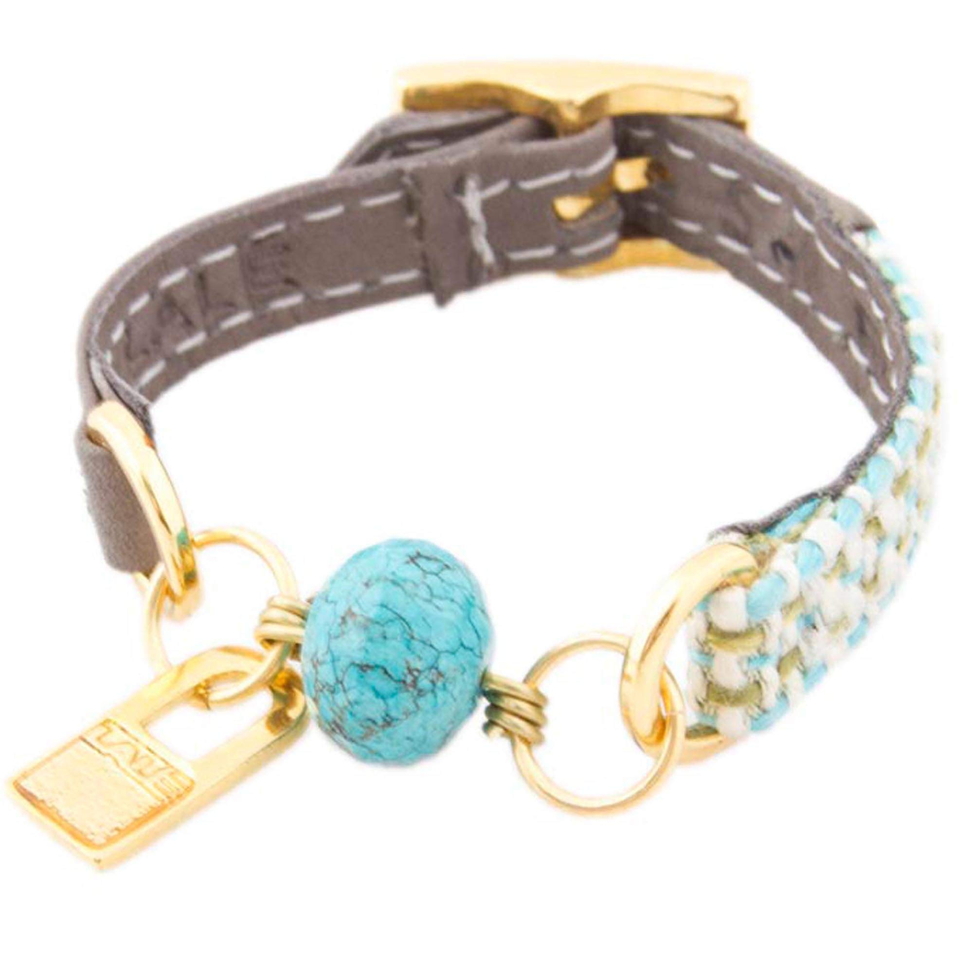 LALÉ Woman wrap Genuine Leather and semiprecious Stone Bracelet | Twists Around The Wrist | Ironwork Plated in Gold Buckle for Closure | Adjustable Size | Handmade Jewelry (Grey, 6.5)