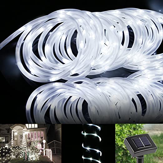 Le 50 leds solar rope lights 5m waterproof outdoor path lights le 50 leds solar rope lights 5m waterproof outdoor path lights daylight white aloadofball Choice Image