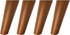 Sweet Melodi Round Solid Wood Furniture Legs Sofa Replacement Legs Perfect for Mid-Century Modern/Great IKEA hack for Sofa, Couch, Bed, Coffee Table (6 Inches,Set of 4, Walnut Color)