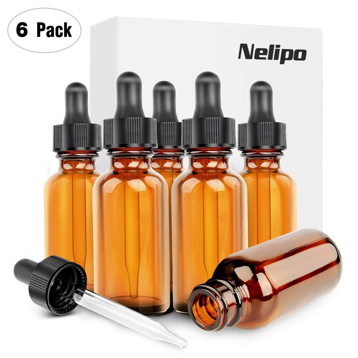 Nelipo 1oz Amber Glass Bottles for Essential Oils with Glass Eye Dropper - Pack of 6