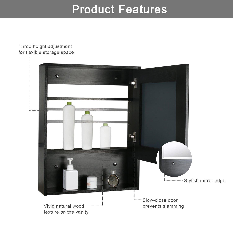 Eclife 22'' x 28'' Large Storage Bathroom Medicine Cabinet Organizer Mirror Storage Wood Adjustable Wall Mounted Mirror Cabinet Black C01 by Eclife (Image #5)