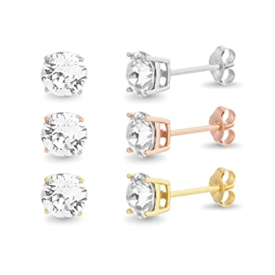 babdddc96 Image Unavailable. Image not available for. Color: Devin Rose 3 Pair 6mm  Stud Earring Set for Women Made With Swarovski Crystals ...