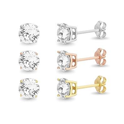 6805ee068 Modeschmuck USA Seller Swarovski Crystal Stud Earrings Sterling Silver 925  Best Jewelry 6mm Uhren & Schmuck