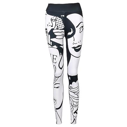 Longra Pantalones Yoga Mujeres, Leggings Mujer Deporte Pantalones elásticos de Yoga de impresión en 3D I Love Squats