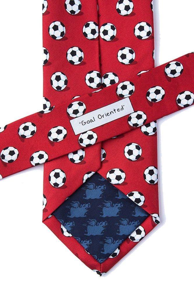 Men's 100% Silk Soccer Balls Goal Oriented Sports Necktie Tie Neckwear (Red) by Alynn (Image #2)