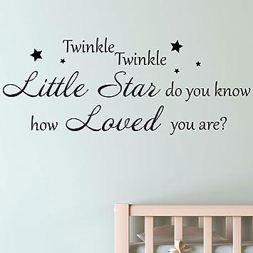 Twinkle Twinkle Little Star Nursery Kids Wall Sticker Quote Decal (Small,  Black) Part 14
