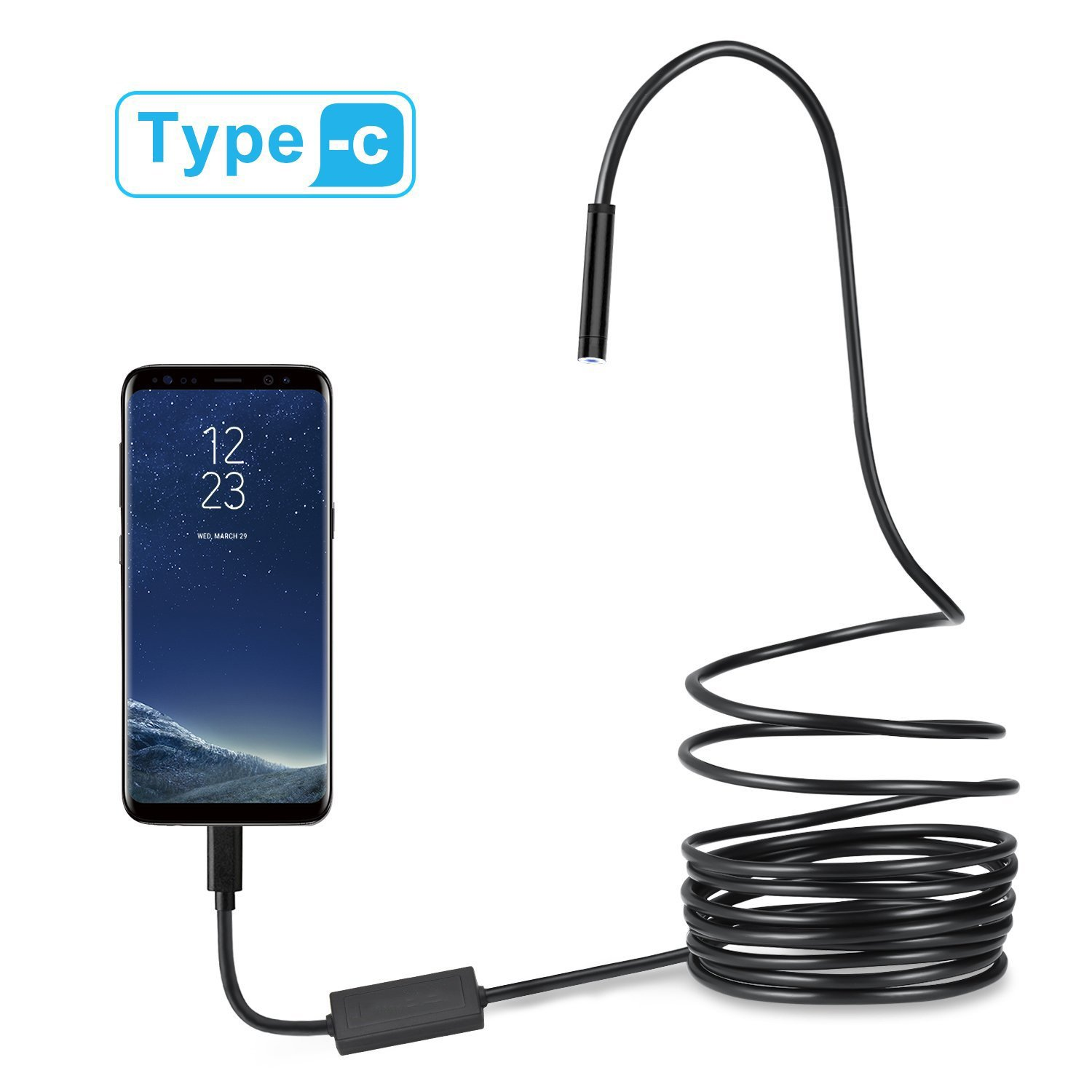 USB-C & Micro USB Endoscope, Semi-rigid USB Type-C Borescope Inspection Camera 2.0MP CMOS HD Waterproof Snake Camera with 8 Adjustable Leds for Android, Windows & Macbook Device(10m,10M) Hinmay