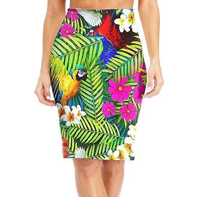 074a486e1a Amazon.com: Antonia Bellamy Parrot Birds Tropical Plants Women's High Waist  Stretchy Knee Length Bodycon Midi Pencil Skirt: Clothing