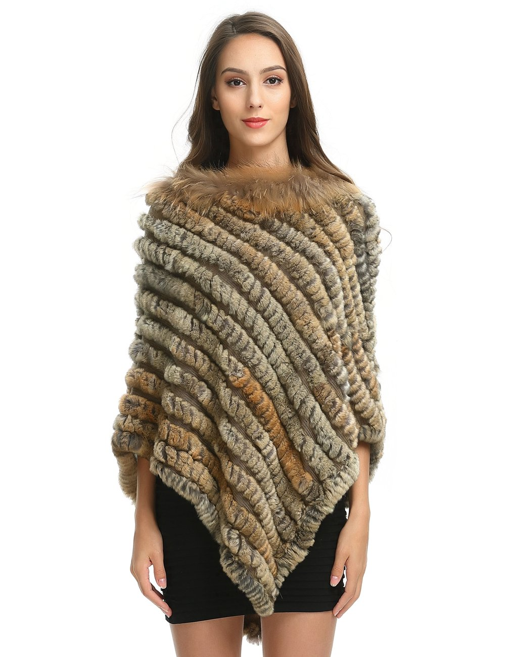 Ferand Women's Oversized Real Rex Rabbit Fur Poncho with Raccoon Fur Collar, Soft and Warm, Ideal for Winter, Natural Brown(Bigger Style)