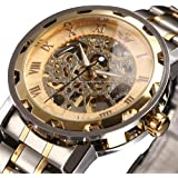 ALPS Men's Classic Skeleton Stainless Steel Mechnical Watch with Link Bracelet (Gold)