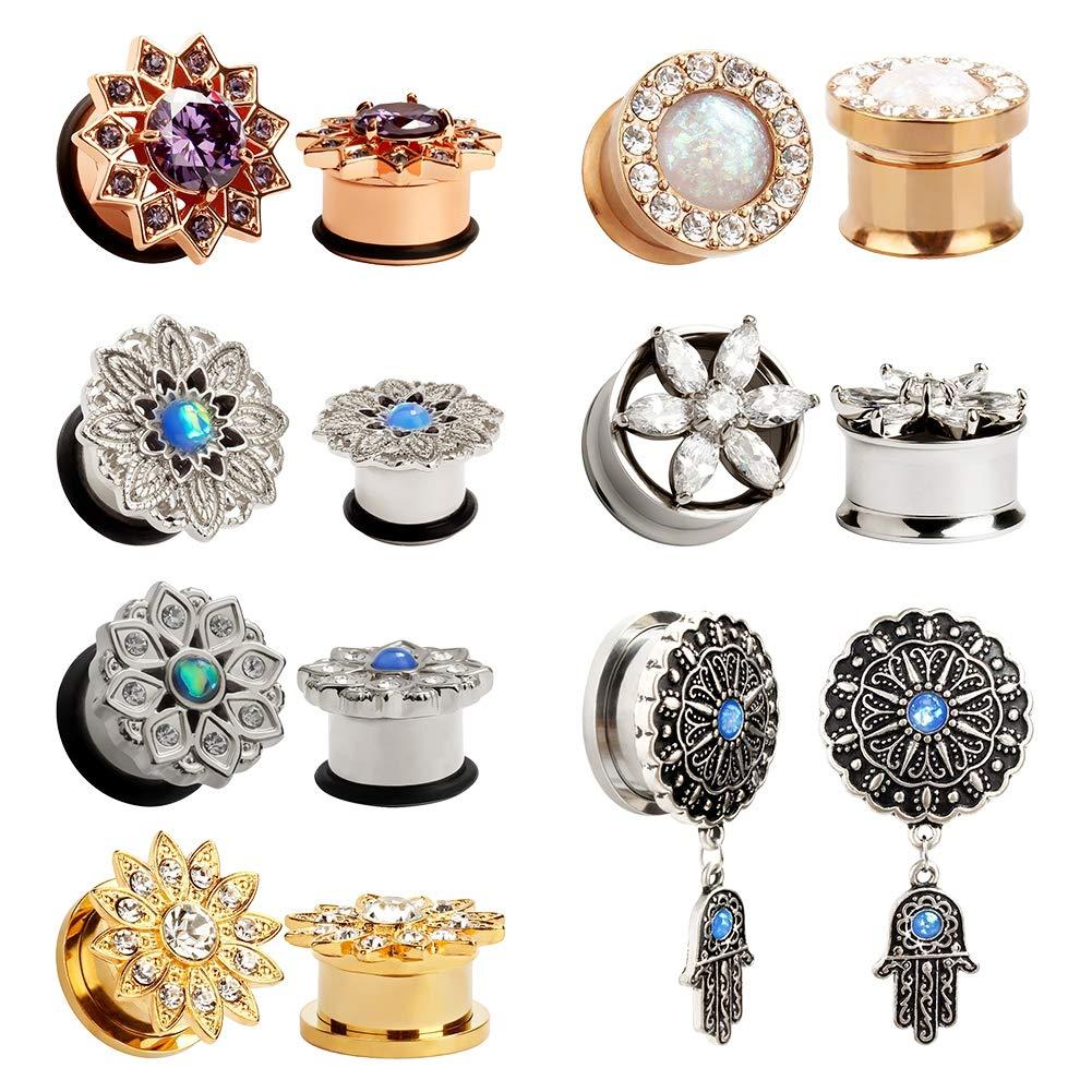TBOSEN 14 pcs Variety Of Styles Stainless Steel Ear Plug Tunnels Gauge Taper Stretchers Piercings Body Jewelry Gauge 0g - 5/8 inch
