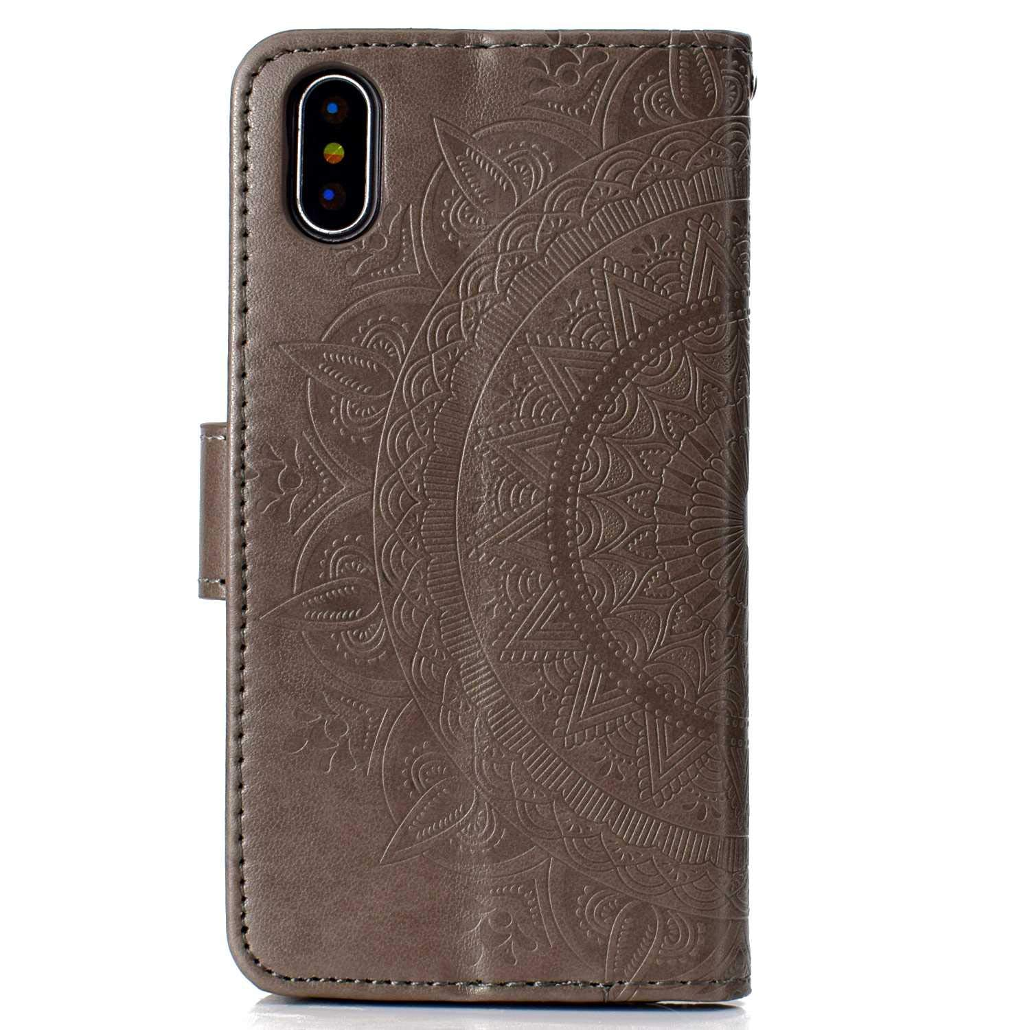 Case iPhone X/Xs, Bear Village PU Leather Embossed Design Case with Card Holder and ID Slot, Wallet Flip Stand Cover for Apple iPhone X/iPhone Xs (#6 Gray) by Bear Village (Image #2)