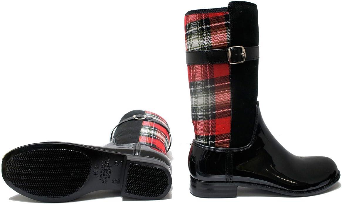 Women Rain Boots Greenbox Official Grey and Black Combo Color Fashion Rain Heel Boots