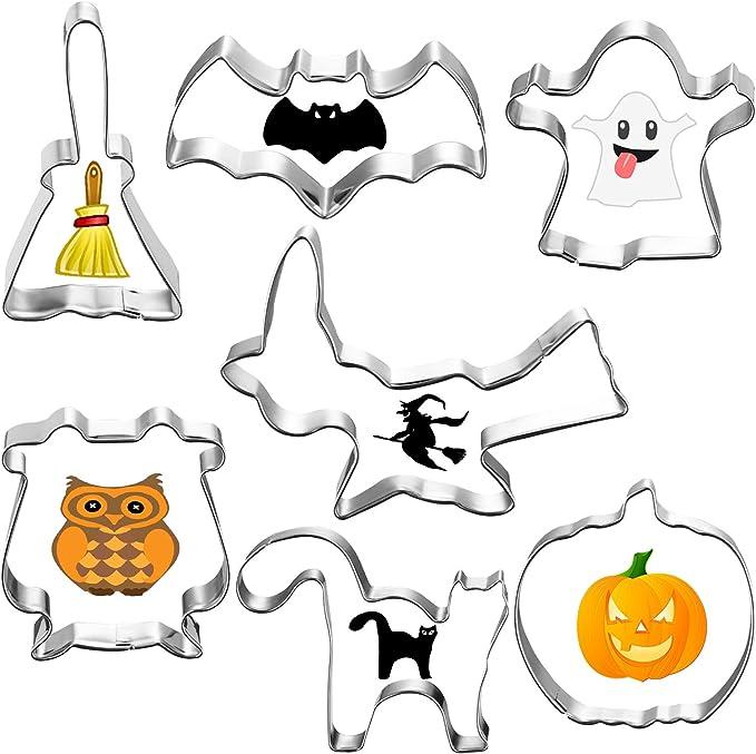 Halloween Zucca,pipistrello,maschera,lapide,Fantasma,per la decorazione di Feste a Tema di Halloween JIASHA Formine Biscotti,11pcs in Acciaio INOX formine per Biscotti Set