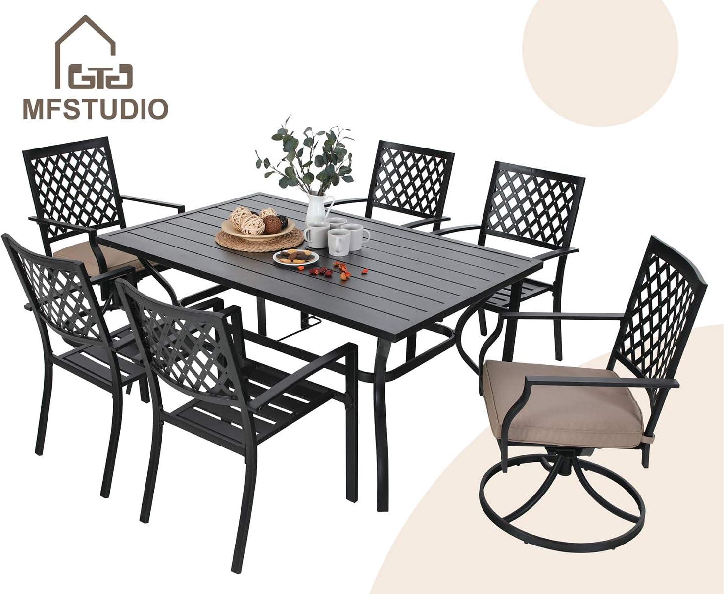 MFSTUDIO Metal 7 Piece Outdoor Patio Dining Set