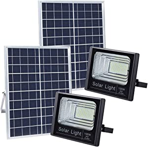 DOOK Solar Flood Lights Outdoor,100W 196 LEDs IP67 36000mAH 5m Wire Solar Street Light with Remote Control for Commercial Billboard Sign Landscapes Home Exterior Life and Industrial Lighting