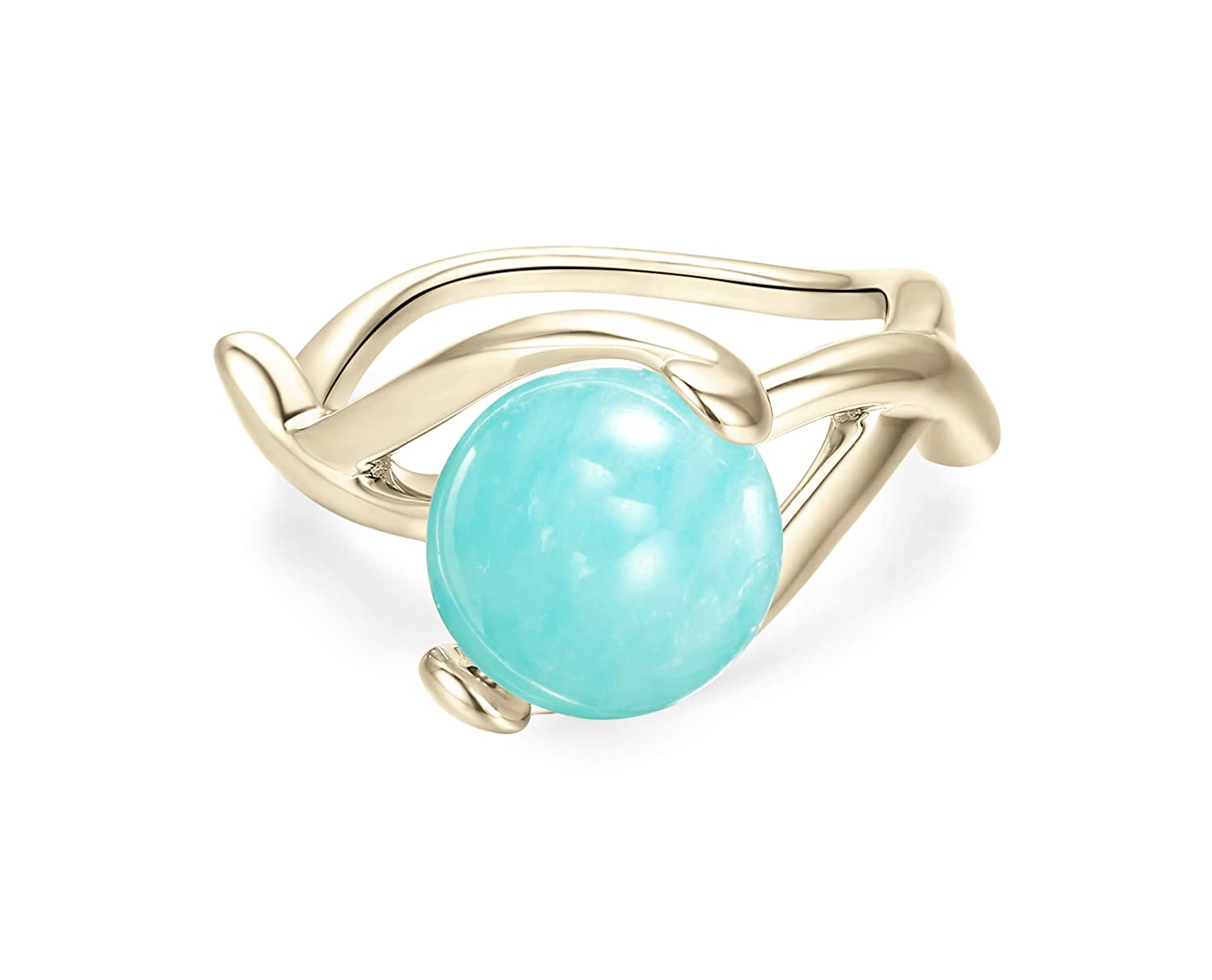 Turquoise Ring By Majade Amazonite Green Engagement Teal Stone Wedding Handmade 925 Sterling Silver Gold Plated: Aqua Green Wedding Rings At Websimilar.org