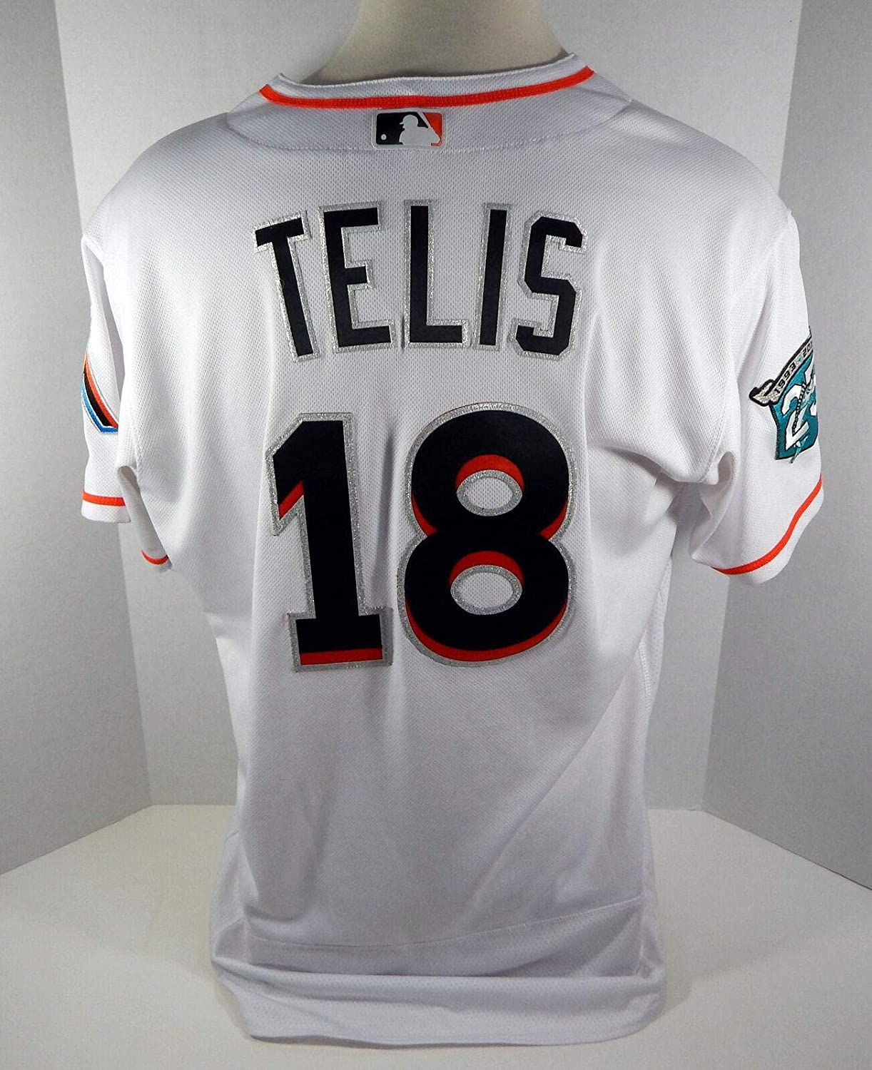 competitive price f45f5 8f0a2 2018 Miami Marlins Tomas Telis #18 Game Used White Jersey ...
