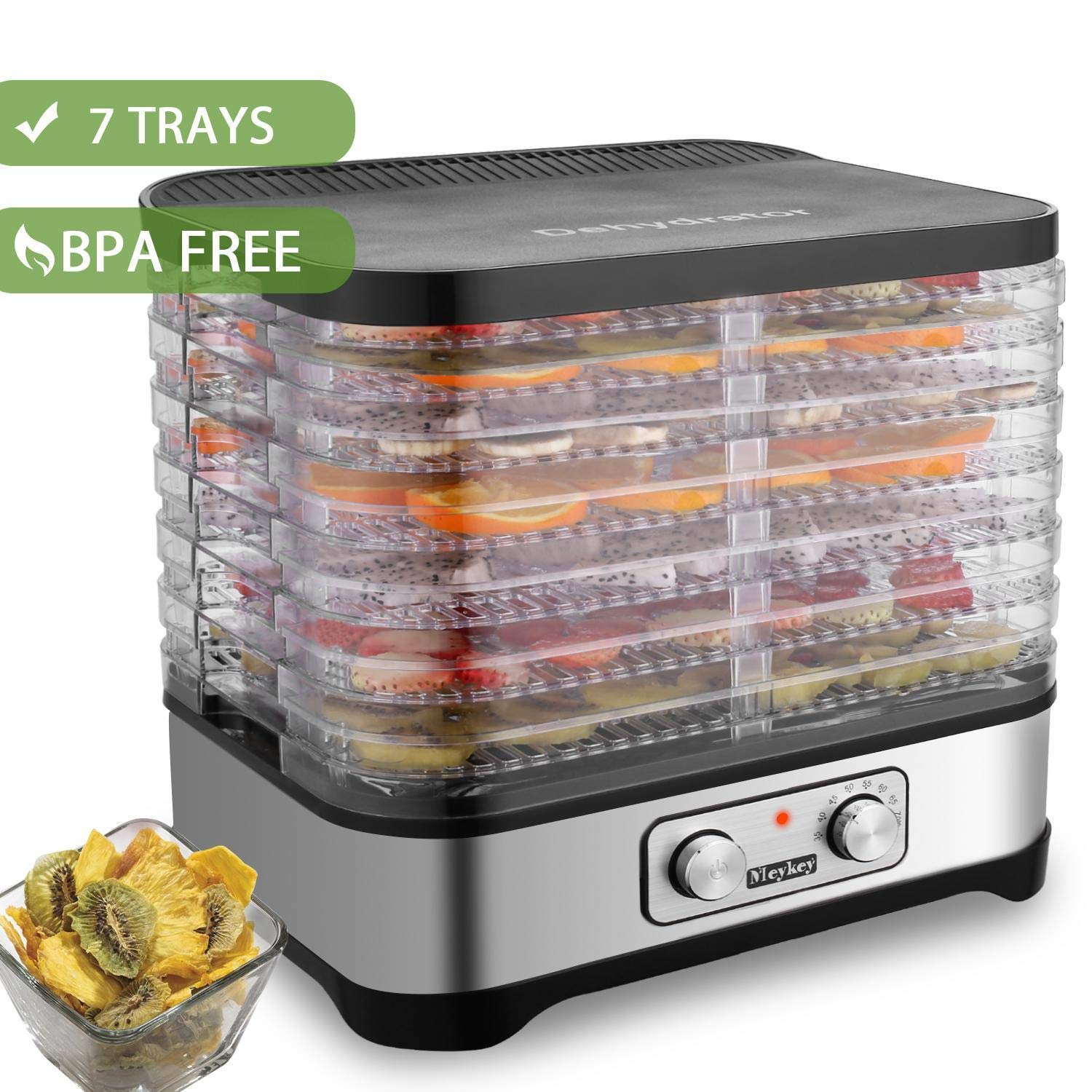 Hauture Food Dehydrator Machine, Electric Food Dryer for Jerky, Beef, Fruit, Vegetable, 7 Trays, Knob BPA Free
