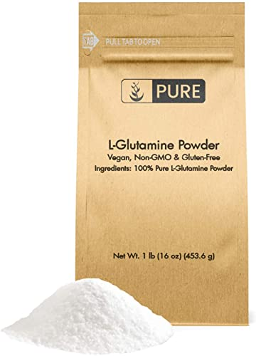 100 Pure L-Glutamine Powder, 1 lb, Gluten-Free, Non-GMO, Immunity Boosting, Lab Tested, Vegan, Made in The US, Eco-Friendly Packaging