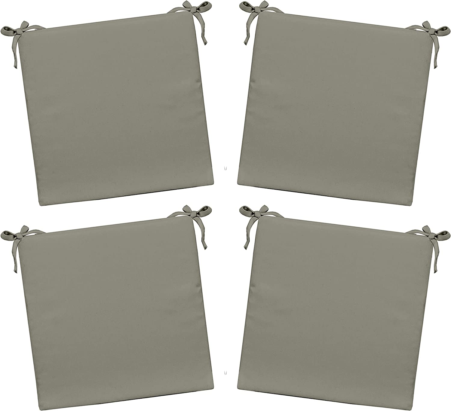 Set of 4 – Indoor Outdoor Solid Gray Grey Square Universal 3 Thick Foam Seat Cushions with Ties for Dining Patio Chairs – Choose Size 20 x 20