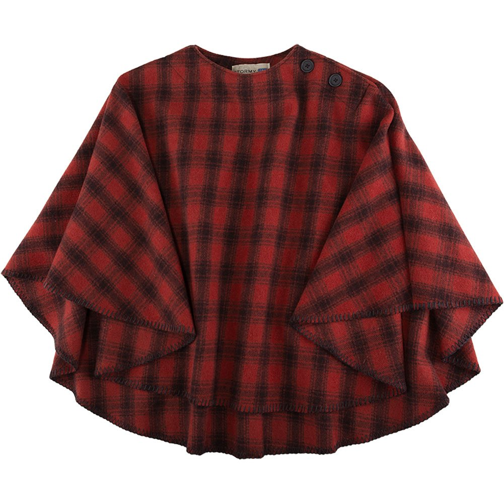 Stormy Kromer Womens Huron Red/Black Plaid Poncho - One Size Fits All