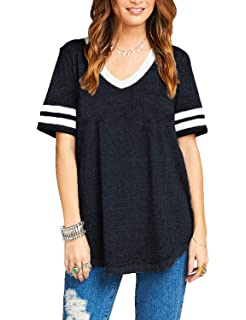 ed175840 Womens Summer Short Sleeve Casual V Neck Baseball Tee Loose Cotton Sport T  Shirt