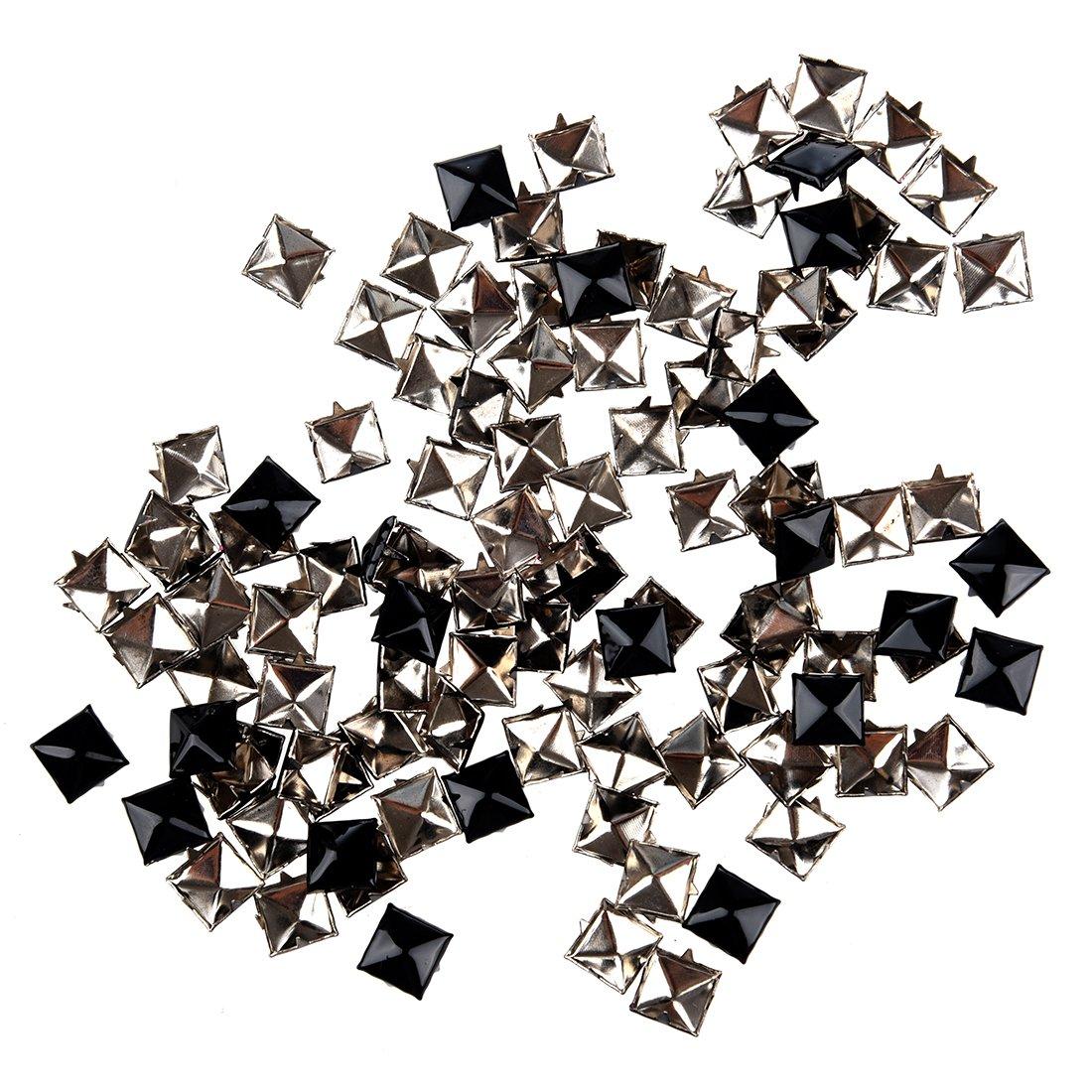100pcs Pyramid Studs Spots Punk Spikes for DIY Craft Leathercraft Black SODIAL R