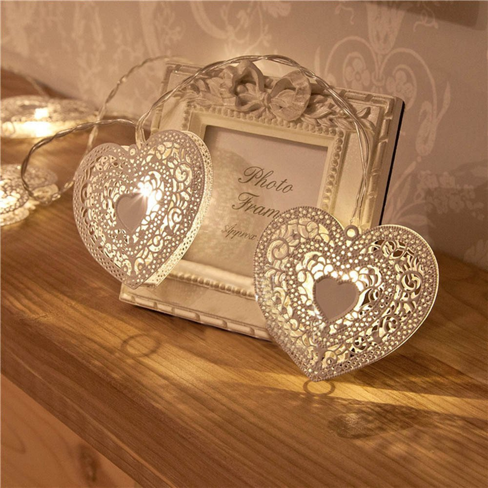 H+K+L Valentine's Day Decorated LED White Iron Heart-Shaped Lamp String Lights for Bedroom Party Decoration Wedding (L)