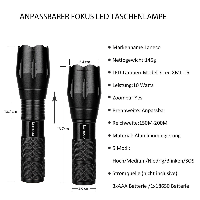 Laneco A100 LED Taschenlampe mit Hochleistung - Superhelle Taktische Taschenlampe - Tragbare Wasserdichte Taschenlampe im Freien mit Einstellbarem Fokus und 5 Leuchtungsmodi für Campen Wandern usw.