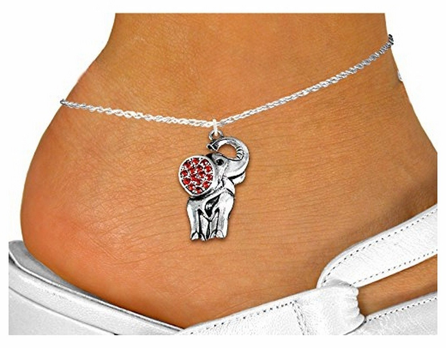 Detailed Silver Tone & Austrian Red Crystal Elephant Charm & Anklet
