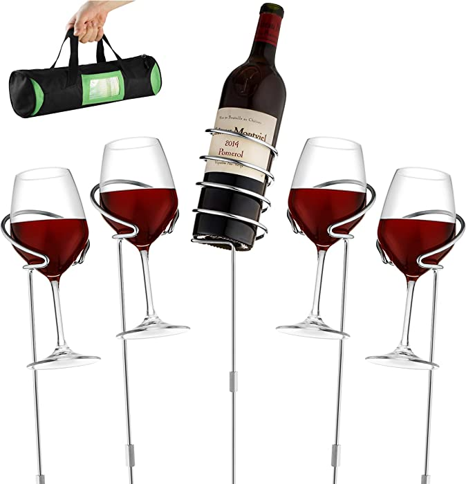 Wine Bottle & Cup Standing Holder Rack | Adjustable Height, Durable Metallic Frame, Sturdy Base & Secure Grip | Holds Bottles Of Wine, Beer,Champagne,Beverages,Glasses& More 5 Pieces Set 36 INCHES