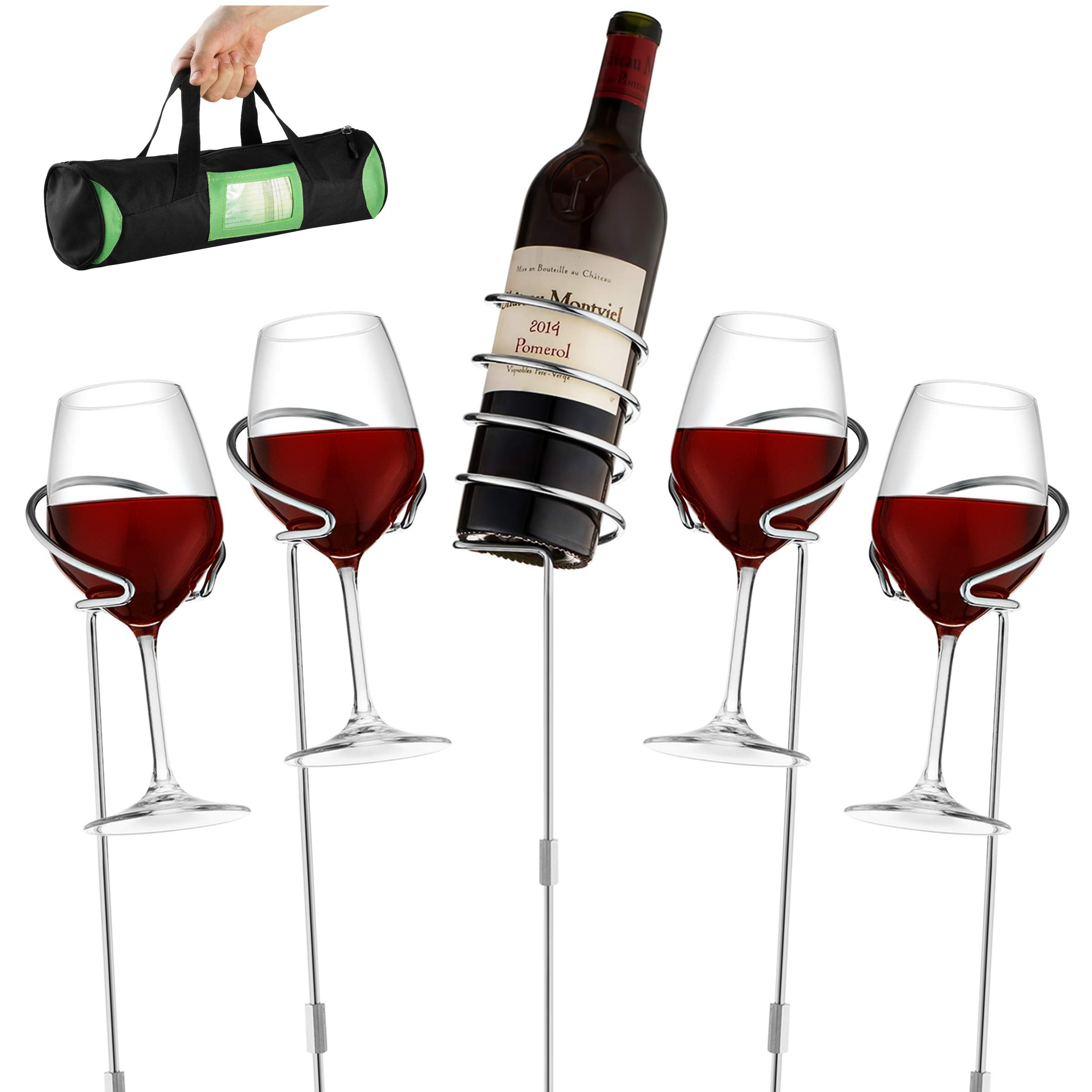 Wine Bottle & Cup Standing Holder Rack | Adjustable Height, Durable Metallic Frame, Sturdy Base & Secure Grip | Holds Bottles Of Wine, Beer,Champagne,Beverages,Glasses& More (5 Pieces Set) by Outdoorwares