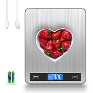 ORIA Digital Kitchen Scale, 20kg Digital Food Scale, 1g/0.1oz Precise Graduation USB Rechargeable Kitchen Weighing Scale, 5 Units LCD Display Food Scale, Stainless Steel and Tempered Glass