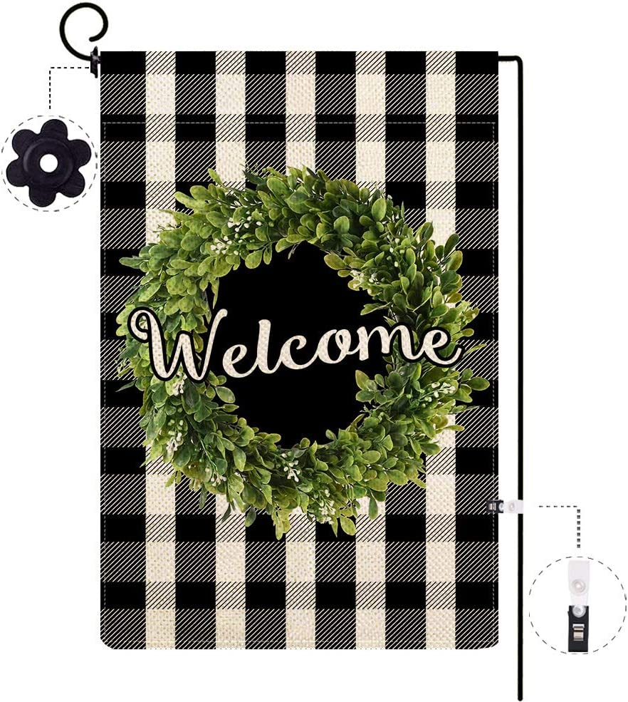ORTIGIA Small Fall Boxwood Wreath Welcome Garden Flag Vertical Double Sided,Buffalo Check Plaid Rustic Farmhouse Burlap Flag Yard Outdoor Decoration,Seasonal Outdoor Flag 12.5 x 18inch Black