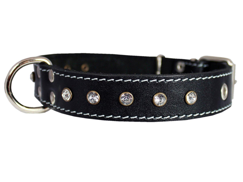 Genuine Black Leather Rhinestone Dog Collar 1.25 x22  Fits 15 -20  Neck