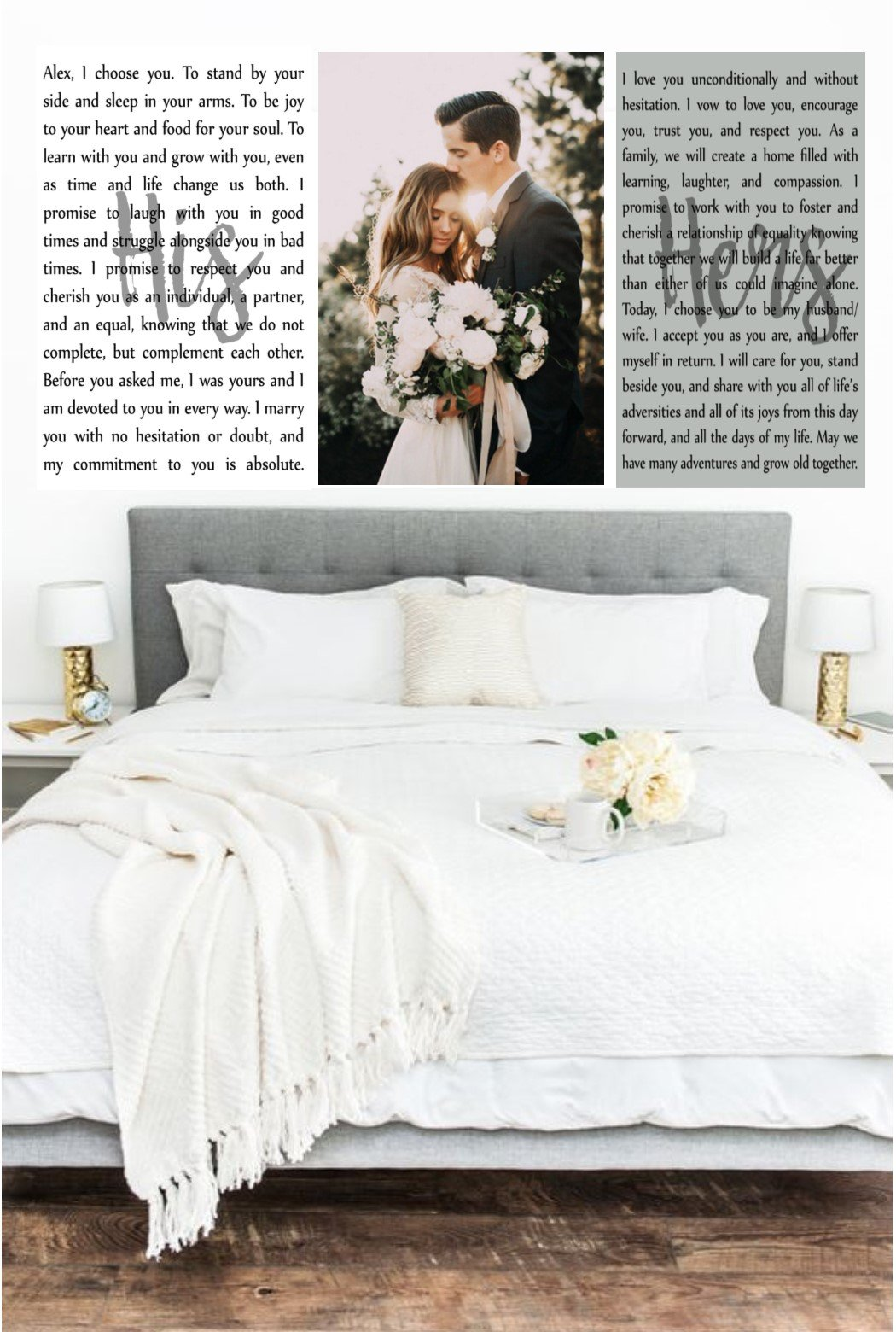 Wedding Vows Art, Set of 3 Canvas Prints, Custom Canvas Prints, Wedding Vows Photo, Wedding Keepsake, Anniversary Canvas, Canvas Over Bed