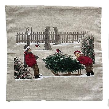 Kissenbezug Winterkinder Weihnachten Ca 40 X 40 Cm